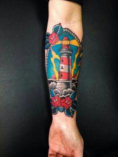 Lighthouse Traditional Tattoo #tatspiration