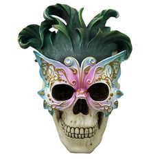 Super cool Masquerade Butterfly Ball Mask Skull Collectible. I want to go to a ball. With this on my face.