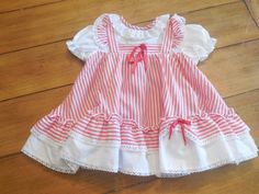 Size 12 months  Vintage Infant Baby Girl Red Stripe by LittleMarin
