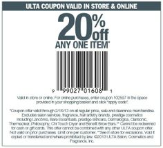 20% off a single item at Ulta, or online via promo code 102597 coupon via The Coupons App