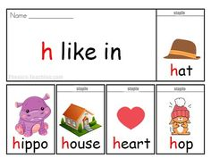 h words flip book - FREE & Printable - words that start with the h sound. Perfect for auditory discrimination, Word Walls, Retrieval charts, improving Phonics Knowledge and Raising Phonemic Awareness Phonics Books, Teaching Phonics, Teaching Kindergarten, Preschool Class, Preschool Learning Activities, Phonics Chart, Before Kindergarten, Alphabet Sounds, H Words