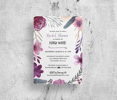 purple floral watercolor bridal shower invitations // custom // digital file