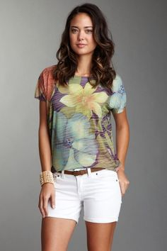 Chaudry Hawaiian Flowers Sleeveless Dolman Shirt by Go Couture on @HauteLook