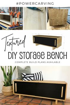 Take your next furniture piece up a notch by adding texture... power carved texture. Bench offers tons of storage and a modern vibe. Great for foot of the bed or an entryway. Complete build plans available. #powercarving #diy #woodworking