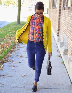 Blue Corduroys, Yellow Cardigan, and Plaid Shirt