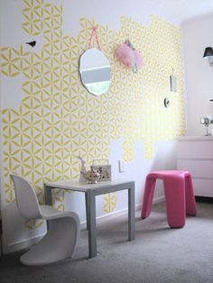 stencilled wall via Dece Design