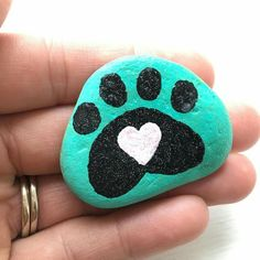 Pawprint Painted Rock