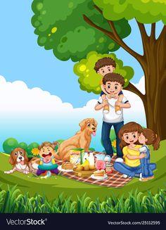 A family picnic scene - Stock Vector , Mind Map Art, School Frame, Cute Cartoon Girl, Family Picnic, Islam, Royalty Free Stock Photos, Clip Art, Drawings, Family Illustration