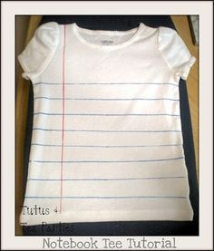 A cute notebook t-shirt diy.  Imagine putting your little ones in this on the first day!