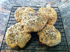 Paleo Everything Bagels..No flour, no grains, no sugar, 3 grams of carbs each. Plenty of savory nuts, seeds, and herbs however. Delicious!