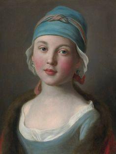 PIETRO ANTONIO ROTARI (VERONA , 1707 - 1762), RITRATTO DI UNA RAGAZZA RUSSA IN UN VESTITO BLU e CON COPRICAPO ERMITAGE, SAN PIETROBURGO