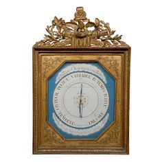 French Gilt Barometer PRICE:  $6,995 Purchase > COUNTRY: France CREATION DATE: 19 th.c. MATERIALS: wood CONDITION: Great consistent with age, some restoration and additions to decoration at top LENGTH: 23 3/4 HEIGHT: 35 1/2