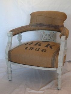Vintage 1936 Victorian Grain Sack Chair    notonthehighstreet.com  Blanche Dlys Designs  £500