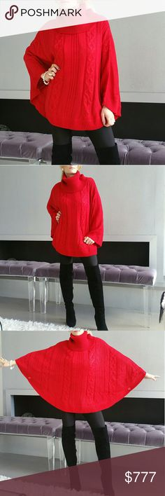 Goregous & comfy  poncho Brand new no tags Boutique item  Price is firm   Goregous red knitted poncho with red metallic threading. Arms holes with buttons/cozy and warm/turtleneck style. Pair with leggings, a top and booties or wear over your favorite dress.  Material 90%acrylic 10%metallic  SIZE large Dark red        Sweaters Shrugs & Ponchos