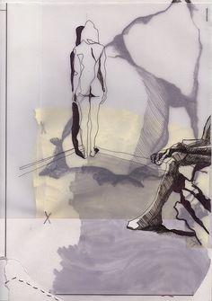 layered figure drawing w/hatching and cross hatching; artist: leonardo mathias