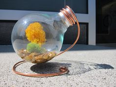 Love this idea for a copper wire stand for a Lightbulb Terrarium - Other lightbulb terrarium examples shown.