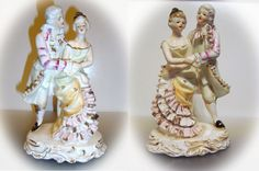 2 Mid Century Dancing Couples in Victorian Dress by DLSpecialties,