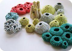 crochet pods and sea creatures by cornflower blue studio Crochet Fish, Crochet Cactus, Freeform Crochet, Crochet Art, Irish Crochet, Crochet Flowers, Crochet Toys, Free Crochet, Crochet Geek