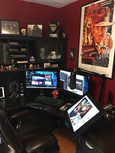 My Gaming, Illustration and Streaming Battlestation - Gamer House Ideas 2019 - 2020 3d Studio, Studio Room, Studio Setup, Gaming Desk Setup, Computer Setup, Home Office Setup, Home Office Design, Artist Workspace, Video Game Rooms