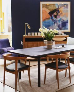 SET THE TABLE, SET THE SCENE!  _______________________ Standard dining table, Moose chair, Plato bench, Double sideboard, Tube table lamp, Safino lounge chair and limited edition Galactic print.