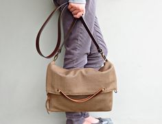 Herringbone  Foldover Purse -  Fawn Brown Shoulder Bag - Custom  Leather Strap  - Plus Size - Converts to Tote - Cross Body Messenger Bag  3...
