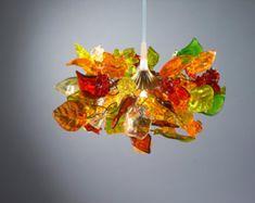 Lampada a sospensione con colore caldo fiori e foglie per camera da letto, cucina ad isola, sala - unica sospensione lampadario