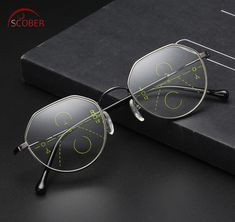 a9a3e7991be93 SCOBER   Retro fashion Polygon frame Intelligence Progressive Multifocal  Commercial Reading Glasses Bifocal +1 +