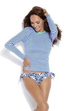 25d0bb557bcf89 Jag Swimwear Navy & White Stripes Women's Swim Shirt. Look you best  while blocking