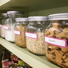 Glass storage jars are an inexpensive and attractive way to organize a pantry.