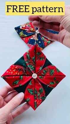 Diy Quilted Christmas Ornaments, Folded Fabric Ornaments, Fabric Christmas Ornaments, Easy Diy Christmas Gifts, Christmas Crafts, Christmas Decorations, Xmas, Christmas Tree, Christmas Sewing Projects
