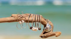 Paradise Beach Collection. Puka Shell Earrings, Hammered Silver Bangles and Nautilus Shell Pendant
