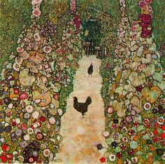 Garden Path with Chicken - Gustav Klimt