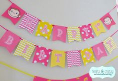Curious George Happy Birthday Banner Pink & Yellow / Curious George Birthday Party - Printable