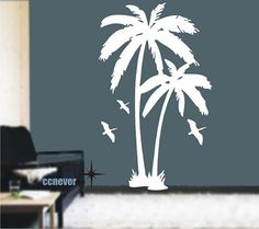 Palm Tree Birds 72inchRemovable Graphic Art wall decals by ccnever