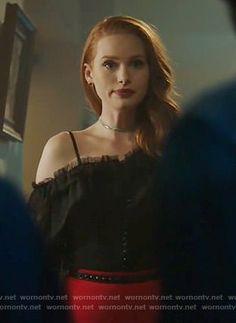Cheryl's black ruffled one-shoulder top on Riverdale. Outfit Details: https://wornontv.net/81757/ #Riverdale
