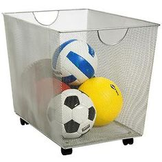Silver Mesh Rolling Bin   The Container Store