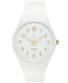 A White Bishop watch from Swatch. | White silicone strap | Round matte white plastic case, 41mm | White dial with gold-tone numerals, indices and luminous hands | Swiss quartz movement | Water resista