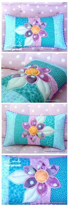 63 Super Ideas For Patchwork Pillow Flower Patterns Patchwork Cushion, Patchwork Baby, Patchwork Patterns, Quilted Pillow, Quilt Block Patterns, Quilt Blocks, Flower Patterns, Diy Pillow Covers, Diy Pillows