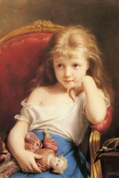 Fritz Zuber-Buhler (1822–1896), Young Girl Holding a Doll