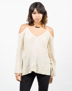 Ribbed Cold Shoulder Sweater Top - White Sweater – Tops – 2020AVE