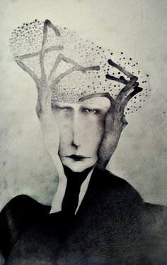 Sonja Barbaric - Man With Hat Made Out Of Stars, 2012 - Drawings: Pencil on Paper Art Inspo, Kunst Inspo, Inspiration Art, Art And Illustration, Gravure Illustration, Art Visage, Creation Art, Art Asiatique, Art Design