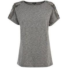 Warehouse Embellished Shoulder T-shirt, Grey