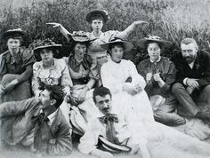"""""""The Immortals at Dunure; Frances Macdonald (rear), Margaret Macdonald (left), Jessie Keppie (right) next to John Keppie, J. Herbert McNair (front left), Charles Rennie Mackintosh (front right)"""""""