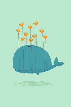 Cartoon Whale and Birds Illustration Wallpaper - Free iPhone Wallpapers Art And Illustration, Art Mignon, Mobile Wallpaper, Animal Wallpaper, Cute Wallpapers, Iphone Wallpapers, Cute Art, Art Drawings, Illustrator