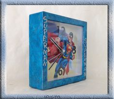 часы Супермен- clock Superman the picture is made specifically for hours program PS 6 and Decoupage technique. size 13*13*4 prise: 20.00 euros