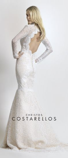 Luxurious lace wedding dress with a spectacular open back, from our new bridal collection. Visit our website www.costarellos.gr for more unique bridal designs!
