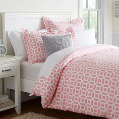 "Peyton Duvet Cover + Sham #pbteen I like this in ""light Pink"" and ""Light Pool"""