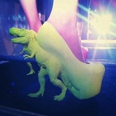 Dino High Heels -- I can't tell if they're real, but they did make me laugh!