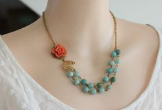 Bead Necklace, Amazonite Jewelry,  Coral Flower Necklace, Vintage Jewelry. $44.00, via Etsy.