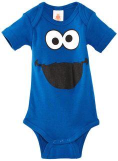 Baby-Body Krümelmonster -Sesamstrasse -Strampler- Cookie Monster - blau -  Lizenziertes Originaldesign 251b54c28a